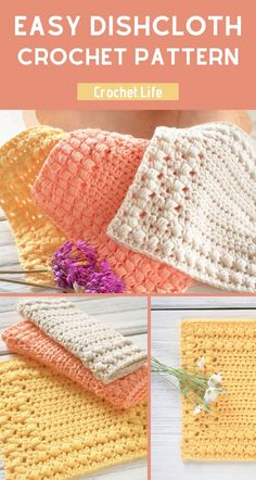 If you're looking for a fun beginner crochet pattern, this free crochet dishcloth pattern is perfect for learning how to make a fun, quick project! Diy Crochet Dishcloth, Crochet Home, Knit Or Crochet, Crochet Gifts, Beginner Crochet, Crochet Dishcloths Free Patterns, How To Crochet For Beginners, Free Crochet Patterns For Beginners, Easy Crochet Stitches
