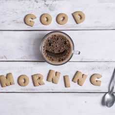 View top-quality stock photos of Good Morning Spelled With Alphabet Cookies. Find premium, high-resolution stock photography at Getty Images. Coffee Tasting, Coffee Drinkers, Coffee Cafe, Coffee Shop, Bon Weekend, Alphabet Cookies, Grinding Coffee Beans, Too Much Coffee, Coffee Branding