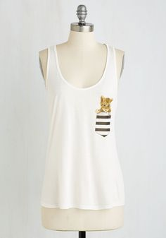 Kitten Away From It All Top. Whats more purr-fect than sporting this quirky white tank top on a fun-filled getaway? #white #modcloth