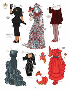 Queen Elizabeth II Gets a New Wardrobe Paper Doll by David Wolfe Costumes by 34 OPDAGA Artists  Part of 12 Page Set  1 of 2