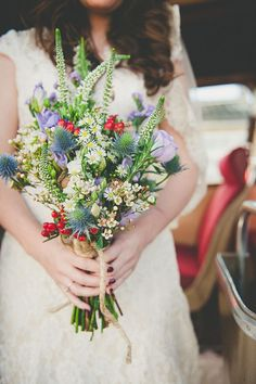 whimiscal colourful wedding flowers bouquet, image by Ellie Gillard http://www.elliegillard.com