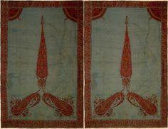 Antique Persian Textile. A pair of Kerman Embroidery Panel Qajar Dynasty  1795 - 1925 A.D Circa 1800