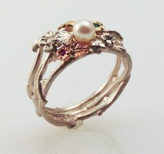 Satin Pearl EcoRing  made with recycled silver by FernandoJewelry, $425.00