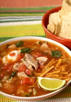 Chicken Tortilla Soup. Made this last night and added corn and black beans...delish!!