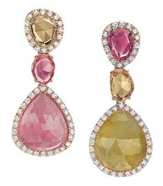 Cellini Jewelers Pink and Yellow Sapphire Drop Earrings  Pink and yellow rose-cut sapphires, trimmed with brilliant white diamond pavé, in 18-karat rose gold.