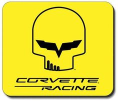 C6R Corvette Racing Jake Skull Yellow Computer Mouse Padfeaturing a non-slip rubber backing that will work with any mouse type, optical or ball. Image is a clear, highly detailed representation. Spru