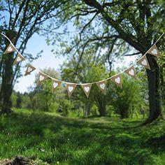 PsmGoods® Weinlese-Herz Jute Sackleinen hessischen Bunting Banner Flag für Hochzeitsfest-Dekoration-weiße Spitze 3m: Amazon.de: Küche & Haushalt