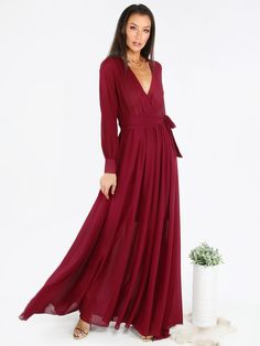 Online shopping for Burgundy Surplice Front Self Tie Cuff Sleeve Dress from a great selection of women's fashion clothing & more at MakeMeChic.COM.
