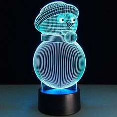 Christmas 3D Snowman Shape Touch Colorful Night Light