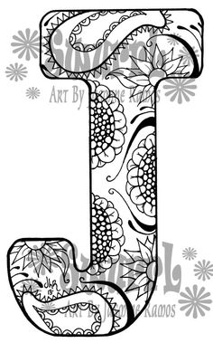 Instant Download Coloring Page Monogram Letter J by Swurrl on Etsy, $0.99