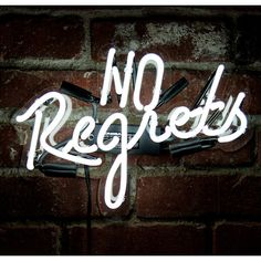 No Regrets Neon Sign ($195) ❤ liked on Polyvore featuring home, home decor, wall art, wall signs, neon signs, handmade signs and home wall decor