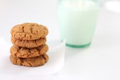 A lighter take on traditional peanut butter cookies - healthy peanut butter cookies that stack up to the original!