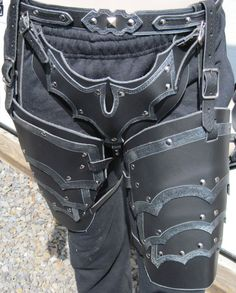Sentinel Gothic Leather Leg Armor Cuisses and Cod Piece. SharpMountainLeather on Etsy. $224.99