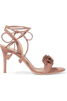 Gianvito Rossi - Ruffled Suede Sandals - Taupe - IT34.5
