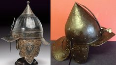Ottoman chichak helmet (lt), compared to a German zischagge helmet (rt), the chichak was originally worn in the 15th-16th century by cavalry of the Ottoman Empire, consisting of a rounded bowl with ear flaps, a peak with a sliding nose guard passing through the peak, and an extension in the back to protect the neck. Various other countries used their own versions of the chichak including Mughal India, in Europe the zischagge helmet was a Germanisation of the original Turkish name.