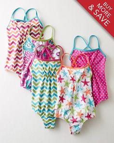 571f45803b Ruched One-Piece Swimsuit - Baby Girls   Girls - Garnet Hill