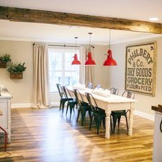 Floor color and large sign via HGTV's Fixer Upper