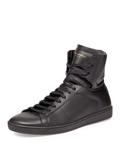 new product 56cb4 f4f9d Saint Laurent Mens Leather High-Top Sneaker, Black