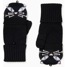 Kate Spade Cat Pop Top Mittens ($88) ❤ liked on Polyvore featuring accessories, gloves, fingerless mittens, kate spade gloves, cat mittens, cat gloves and mitten gloves