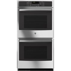 GE 27 in. Double Electric Wall Oven Self-Cleaning with Steam Plus Convection in Stainless Steel (Silver)