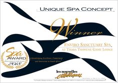 """Amani Spa, Ivory Tree Game Lodge was awarded """"Best Safari Spa, at the Les Nouvelles Esthétiques Spa Awards. Game Lodge, Wine Parties, Hotel Spa, South Africa, Tea Party, Safari, Awards, Games, Ivory"""