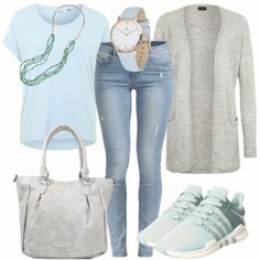 Leisure Outfits: Blue meets Turqouise at FrauenOutfits.de Leisure Outfits: Blue meets Turqouise at FrauenOutfits. Komplette Outfits, Jean Outfits, Outfits For Teens, Spring Outfits, Casual Outfits, Fashion Outfits, Vans Outfit, Outfit Jeans, College Girl Outfits