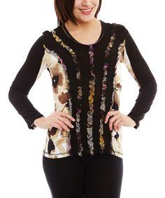 Black Floral Ruffle Scoop Neck Top #zulily #zulilyfinds