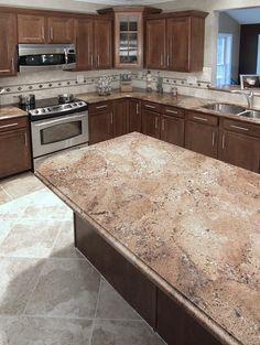 alluring kitchen floor ideas you must have 00002 ~ Beautiful House Tan Kitchen, Kitchen Island Decor, Home Decor Kitchen, Kitchen Design, Kitchen Ideas, Kitchen Colour Schemes, Kitchen Colors, Walnut Kitchen Cabinets, Dark Brown Cabinets
