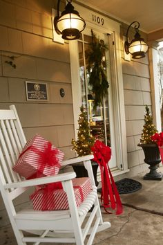 "like the presents on the rocking chairs idea.. anyone have ideas about what I could wrap ""packages"" in that would be weather-proof???"