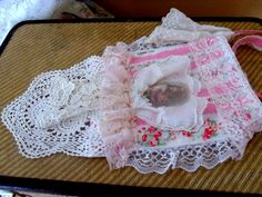 Shabby Chic Pouch Purse Crossbody Pink Roses by SweetRepeatVintage