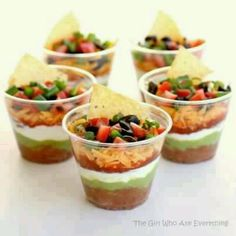Individual Mexican dip servings