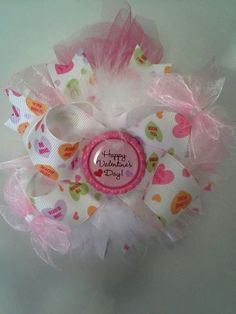 Happy Valentine's Day Boutique Hair Bow for by TheJMarieBoutique, $8.99