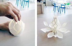 Beautiful and kinetic: we printed this Blossoming Lamp last night/today!  Blossoming Lamp (emmett) / CC BY-SA 3.0