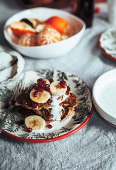 """BANANA EGGNOG PANCAKES from """"THE SUPERFUN TIMES VEGAN HOLIDAY COOKBOOK"""" » The First Mess // Plant-Based Recipes + Photography by Laura Wright"""