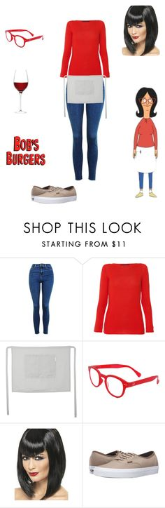 """""""Bomb's Burgers: Linda Belcher"""" by kcurran2002 ❤ liked on Polyvore featuring Topshop, Les Copains, The Linen Works, See Concept, Vans and LSA International"""