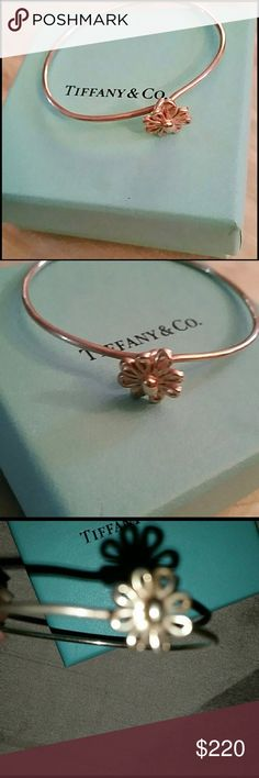 """Authentic Tiffany  Rose Sterling Silver Bangle Luxury you have come to know from """"the little blue box."""". Tell her you appreciate all those years... excellent anniversary or birthday present.  A for the Tiffany that has it all.     #Rare Tiffany bangle.  Will trade but only for Chanel wallet or Chanel shoes size 9-10. Tiffany & Co. Jewelry Bracelets"""