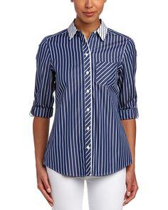 Foxcroft 3/4-Sleeve Woven Shirt