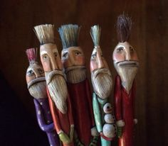 Mary-Lynne Moffatt recycled paint brushes. Santa.