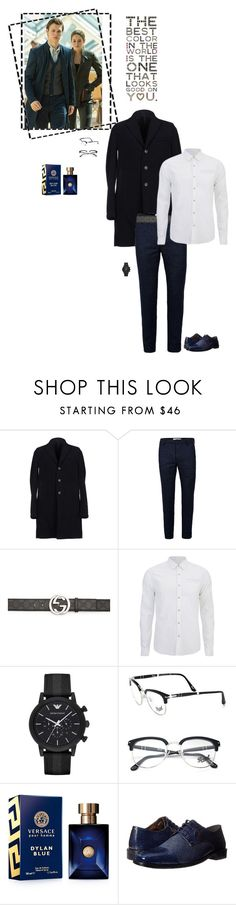 """""""Battle of the Fandom Siblings: ROUND O3 - Wardrobe"""" by fashionqueen76 ❤ liked on Polyvore featuring Harris Wharf London, Topman, Gucci, Scotch & Soda, Emporio Armani, Persol, Versace, Stacy Adams, men's fashion and menswear"""