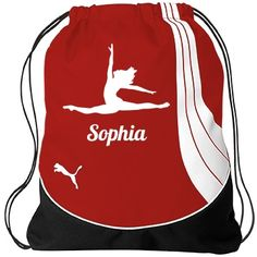 Sophia drawstring gym bag | Customized by adding a name.