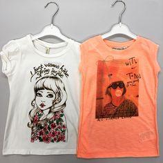 Stoere meiden shirts - deze zijn maat 98 - 104 - bij Kleertjesdoos.com
