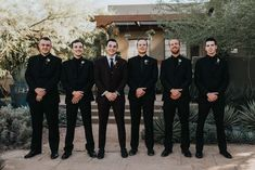 The rich color palette in this Desert Botanical Garden wedding will give you major heart eyes. Jonnie and Garrett photographed the elegant desert wedding. Black Tux Wedding, Wedding Tux, Burgundy Wedding, Wedding Attire, Dream Wedding, Black Weddings, Rustic Weddings, Black Bridesmaids, Bridesmaids And Groomsmen