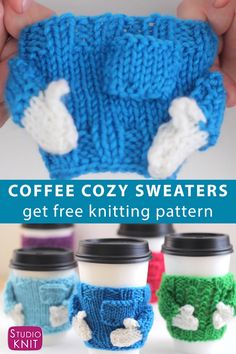 You ll love making adorable Knitted Coffee Cozy Sweaters for friends They make awesome quick knit gifts and these cozies look just a real sweater StudioKnit CoffeeCozy knitcozy freeknittingpattern Sweater Knitting Patterns, Loom Knitting, Knitting Stitches, Free Knitting, Crochet Patterns, Knitting For Charity, Knitting Machine, Vintage Knitting, Stitch Patterns