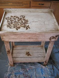 After- I painted, distressed and did a stencil with reactive paints inside and outside. Desk, Modern Masters, textures, distressed, furniture painting, rust, patina, stenciling, furniture makeover, crackle, paint. https://www.facebook.com/pages/Faux-Finesse/337699640030