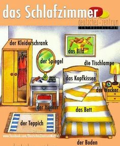 Das Schlafzimmer - the bedroom - Немецкий язык - Das Schlafzimmer – the bedroom - Study German, Learn German, German English, Learn English, Learn French, German Grammar, German Words, German Language Learning, Language Study