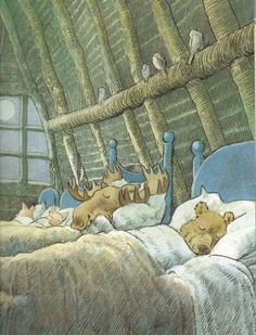 This delightful illustration is from 'A House in the Woods' written and illustrated by Inga Moore.