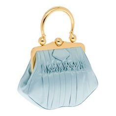 Miu Miu Lake Blue Top Handle Satin handbag with hand-stitched smocking detail-–Metal handle and snap-lock-–Polished gold hardware  Snap-lock closure  Inside pocket with zipper and cellphone pocket-–Metal lettering logo on outside  Satin cotton lining
