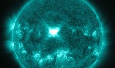A solar flare in the middle of the sun on 10 September.
