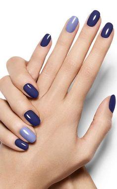 Pop Of Blue - Violet Azure Nail Art Design - Essie Nail Polish Looks Blue Nail Designs, Winter Nail Designs, Nail Ideas For Winter, Trendy Nails, Cute Nails, Classy Nails, Simple Nails, Hair And Nails, My Nails