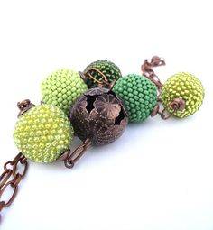 Beaded Bead Necklace Mint Olive Grass Apple Forest Lime Green